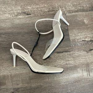 Zara Clear Cream White Kitten Heels 37 6.5 7